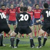Stand-in captain Mick O'Driscoll and his Munster team-mates face up to the Piri Weepu-led New Zealand haka