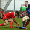 But the Leinster defence was unlocked in the 12th minute when Doug Howlett pounced for the opening try