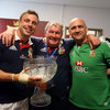 It was celebration time for Tommy Bowe and two regular members of Ireland's backroom staff, baggage master 'Rala' and Dr. Eanna Falvey