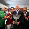 2009 Lions captain Paul O'Connell, who missed the third Test through injury, gets a chance to hold the trophy with Dr. Eanna Falvey, Conor Murray and Simon Zebo