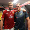 Geoff Parling and Australian captain James Horwill shared commiserations and congratulations as they exchanged jerseys in the Lions dressing room