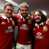 There were smiles all round for Dan Lydiate, Geoff Parling and Adam Jones, three of the starters in a dominant Lions pack