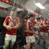 Sean O'Brien and Mike Phillips revel in the champagne-splashed celebrations as the Lions get the party started in their dressing room