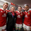 Daniel Craig links arms with the starting back row from the final Test - Dan Lydiate, Sean O'Brien and Toby Faletau