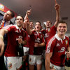 Jonathan Sexton and his Lions team-mates break into song during the dressing room celebrations at ANZ Stadium