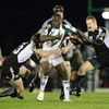 London Irish two-try hero Topsy Ojo is challenged by Connacht's Gavin Duffy and Liam Bibo