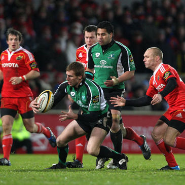 Connacht full-back Gavin Duffy on the ball against Munster