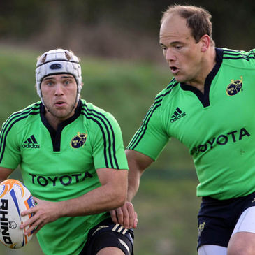 Munster's Duncan Williams and BJ Botha