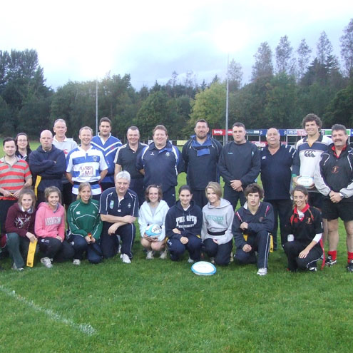 The coaching course participants at Dungannon RFC