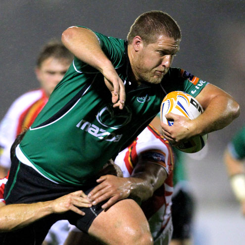 Dylan Rogers on the charge for Connacht