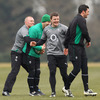 Keith Earls, Tomas O'Leary, Brian O'Driscoll and Rob Kearney see the funny side of things as the players train at Carton House