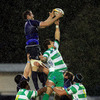 Leinster lock Ed O'Donoghue rises above Benetton Treviso's Alessandro Zanni to claim a lineout ball