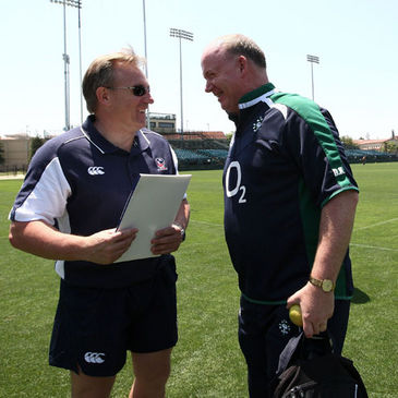 Declan Kidney shares a joke with his predecessor Eddie O'Sullivan