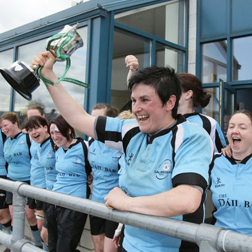 Galwegians captain Emer O'Dowd lifts the All-Ireland Cup