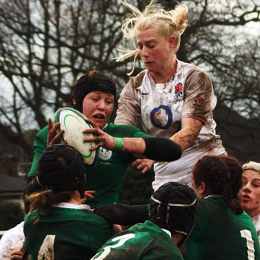 Marie Louise Reilly secures lineout possession for Ireland