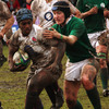England flanker Margaret Alphonsi is caught by the Irish cover as the sides battle it out
