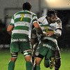 Benetton Treviso hooker Enrico Ceccato and Ulster flanker Pedrie Wannenburg collide as the sides scrap for possession