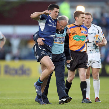 Leinster's Eoin O'Malley had to be helped off the pitch