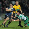 Leinster centre Eoin O'Malley scampers away from Gonzalo Padro, who was the scorer of Treviso's only try