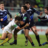 Clermont Auvergne's place-kicking scrum half Morgan puts a tackle in on Heineken Cup newcomer Eoin O'Malley