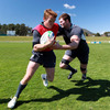 Donnacha Ryan puts pressure on ball carrier Eoin Reddan during a training drill at the Kings Country Rams' ground