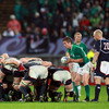 With fellow replacement Tim Usasz close at hand, Eoin Reddan waits to deliver the ball into the middle of an Irish scrum