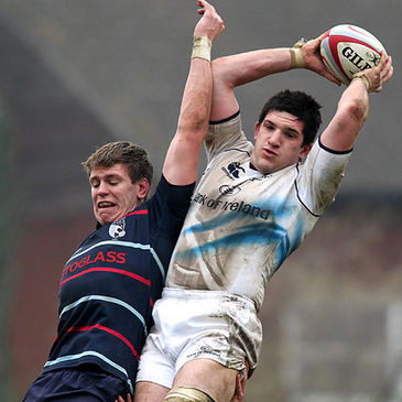 Eoin Sheriff wins a lineout for Leinster's British & Irish Cup side