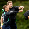 Former Saracens and Stormers hooker Ethienne Reynecke points something out with Connacht's most-capped player, Michael Swift