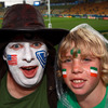 New Plymouth natives Darren and Elijah Higginson were backing different teams as Ireland and the USA battled it out