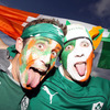 These face-painted fans donned their jerseys and waved flags as they waited for the kick-off of Ireland's third Pool C match