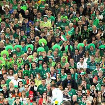 A colourful section of Ireland fans watching last Sunday's match
