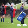 Luke Fitzgerald, Felipe Contepomi and Cian Healy prepare for work on the tackle bags