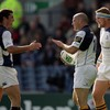 Felipe Contepomi celebrates his score with Rob Kearney and Jamie Heaslip