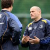 Felipe Contepomi chats with one of Leinster's most recent signings, Rocky Elsom