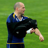 Argentinian international Felipe Contepomi puts on a padded jersey as Leinster put in some contact work