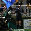 Felipe Contepomi draws approval from the home fans after touching down Leinster's bonus point score