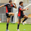 Felix Jones and Sam Tuitupou, who started Munster's two opening league wins, warm up at Thomond Park