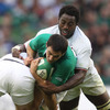 France flanker Fulgence Ouedraogo gets to grips with the attack-minded Felix Jones, who celebrated his 24th birthday recently