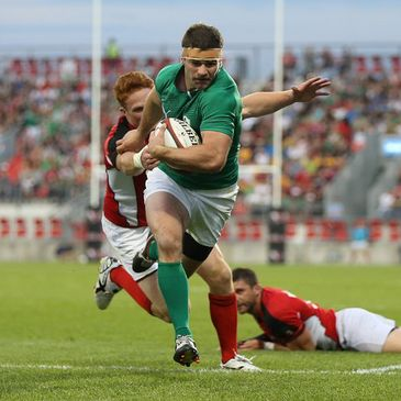 Ireland's Fergus McFadden in action against Canada