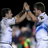 Fergus McFadden congratulates Dominic Ryan after he raided through to score his second try of the current campaign
