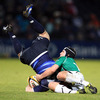 Leinster's Fergus McFadden goes head over heels as Connacht centre Ian Keatley catches him with a tackle