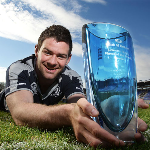 Fergus McFadden is pictured with his Player of the Month award