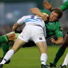 Leinster centre Fergus McFadden ensures Connacht's Michael Swift is stopped in his tracks at the Sportsground