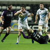 The Ospreys' Ian Gough and Richard Fussell catch Leinster centre Fergus McFadden in possession during Sunday's match in Swansea