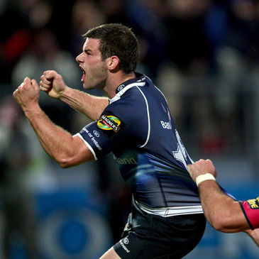 Fergus McFadden celebrates after scoring against Cardiff