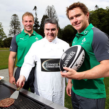 Head chef Cathal Kavanagh with Ireland's Stephen Ferris and Eoin Reddan
