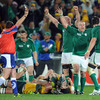 As referee Bryce Lawrence signals for a final penalty award to Ireland, Brian O'Driscoll and his team-mates erupt in celebration
