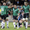 Connacht's Adrian Flavin, Michael Swift, Miah Nikora and Mike McCarthy celebrate as the full-time whistle is blown