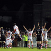 The Ulster players, including Tommy Seymour, Nigel Brady and Paddy McAllister, react as referee Peter Allan blows for full-time