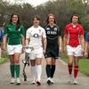 Ireland Women's captain Fiona Coghlan is pictured with some of her fellow skippers, including England's Six Nations-winning captain Katy McLean